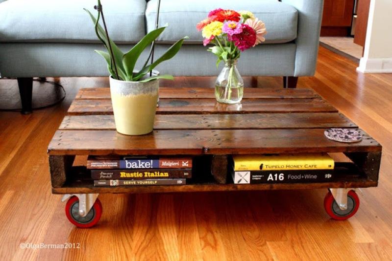 """mesa con palet, visto en """"I am a Mess Blog"""""""