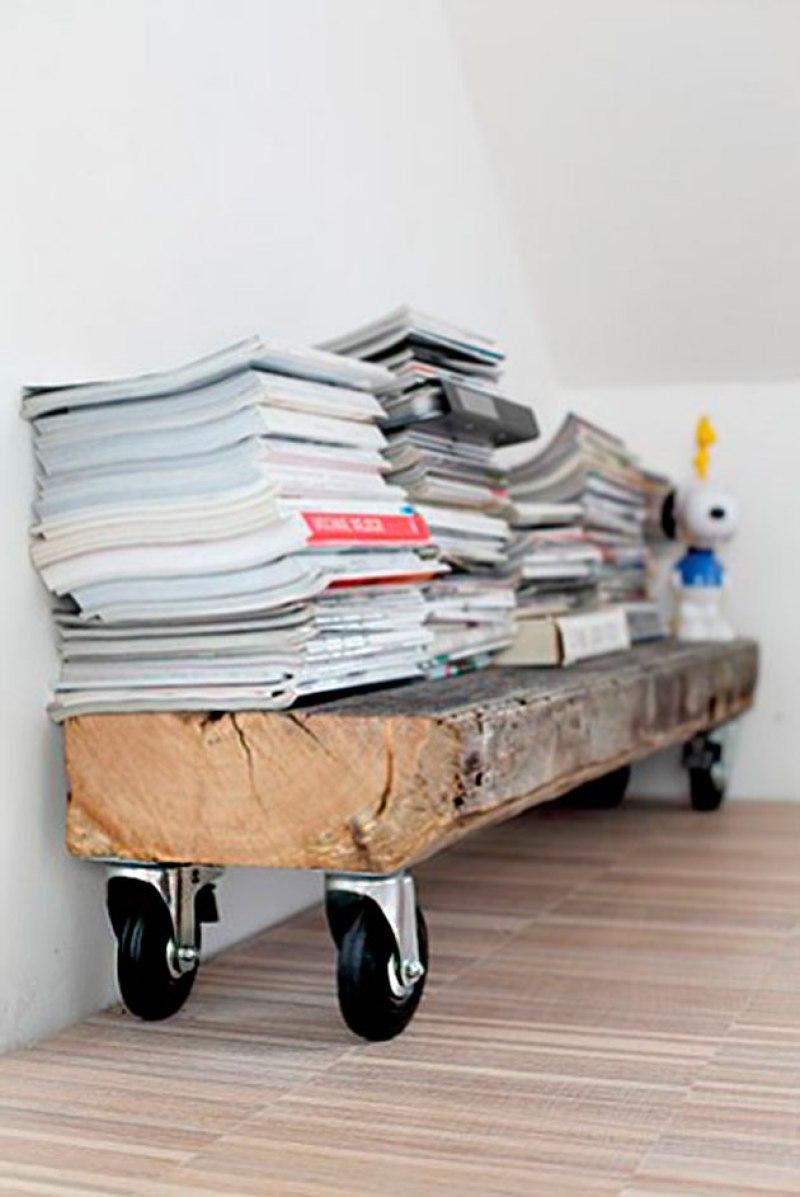"repisa con viga reciclada, visto en ""I am a Mess Blog"""