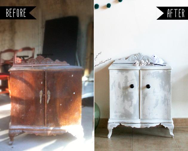 antes y despues de dos mesitas - before and after bedside