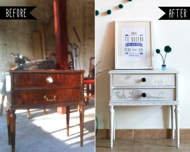 Antes y despu s de dos mesitas de noche i am a mess blog for Muebles antiguos restaurados antes y despues