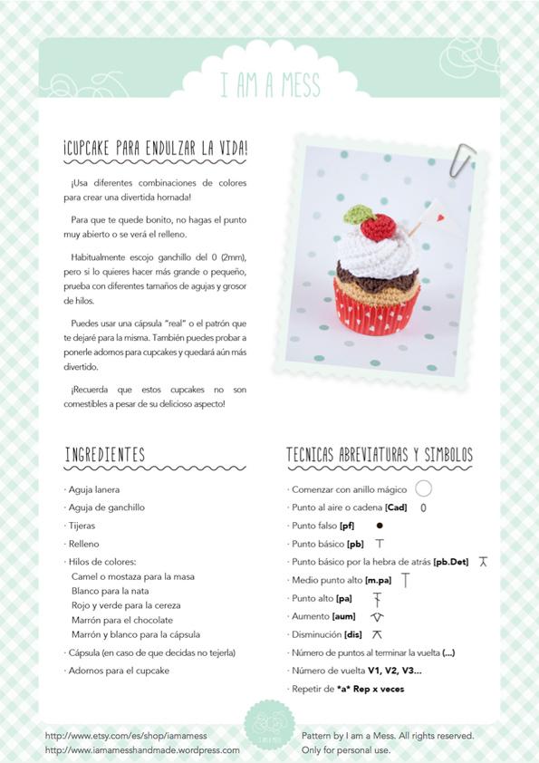 Patrón de cupcake a ganchillo, sencillo y con amor