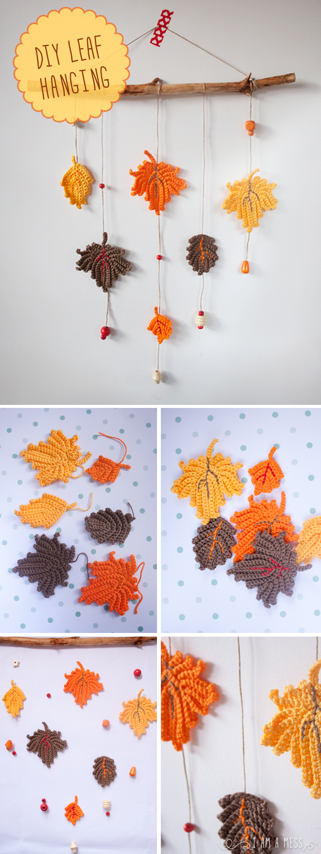 "DIY colgante de hojas de ganchillo, visto en ""I am a Mess"""
