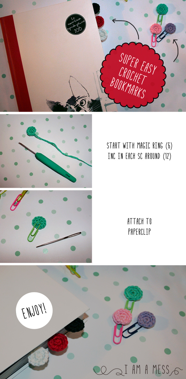 """super easy crochet  bookmark by """"I am a Mess"""""""