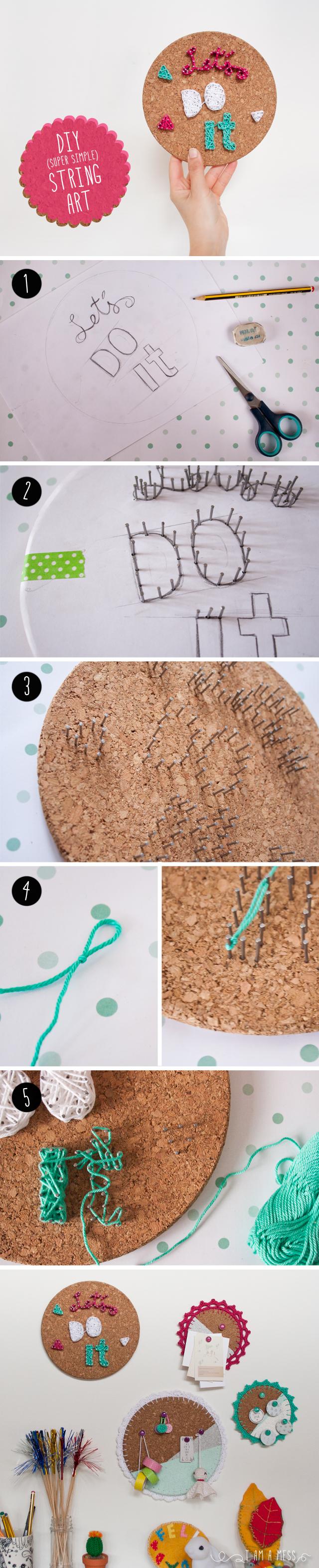 "DIY cork string art  steps by ""I am a Mess"""