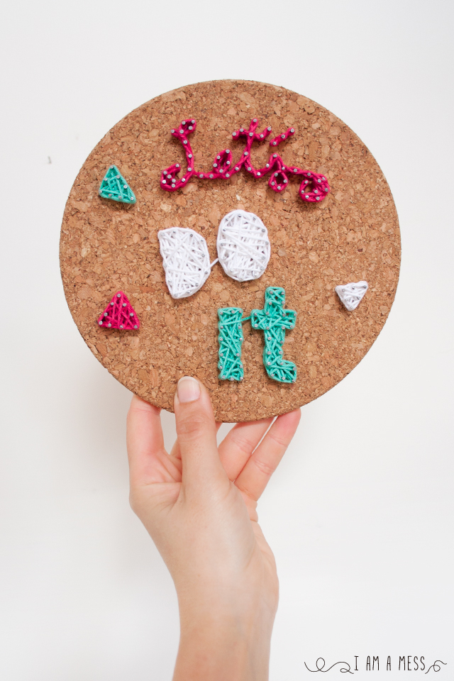 "DIY cork string art by ""I am a Mess"""