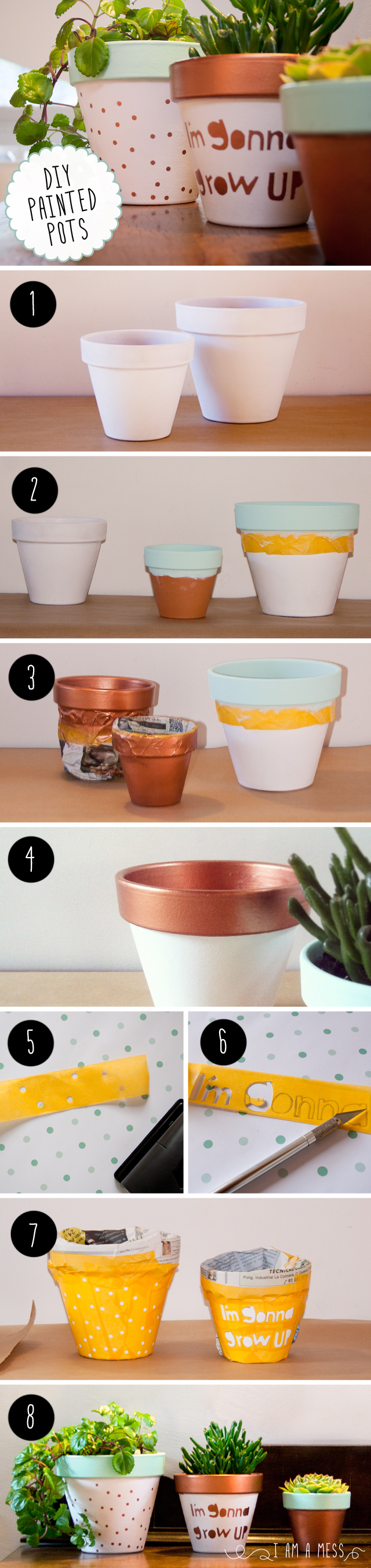"DIY painted pots by ""I am a Mess"""