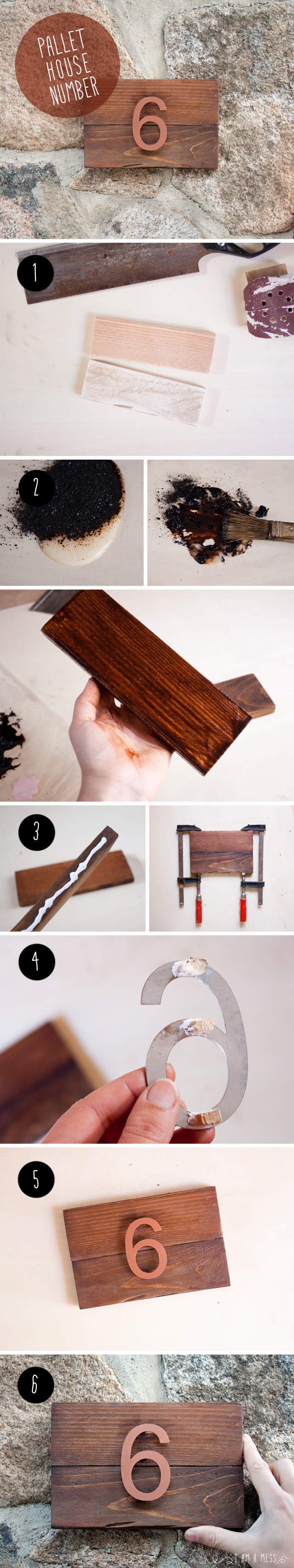 """DIY pallet house number by """"I am a Mess"""""""