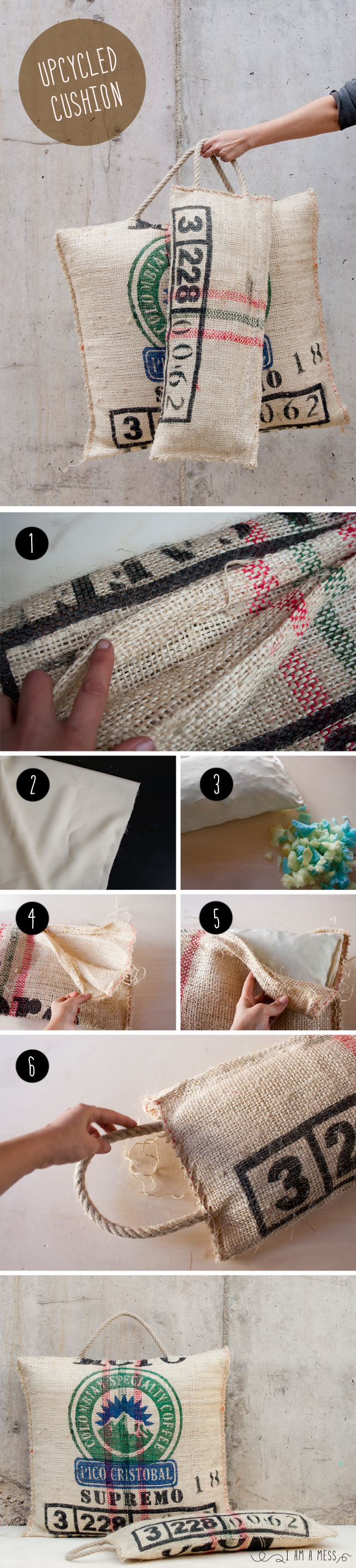 "DIY Upcycling Cushion by ""I am a Mess"""