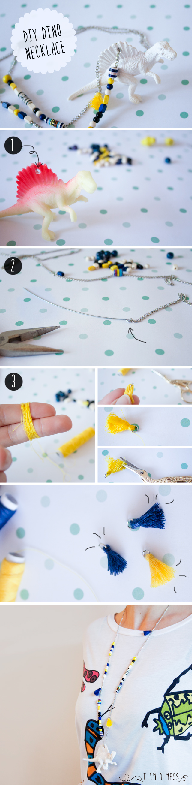 """DIY Dino Necklace by """"I am a Mess"""""""
